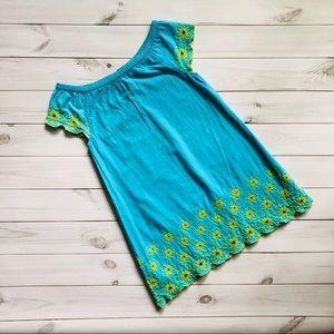 Mini Boden Eyelet Blue Green 2-3 Years Dress